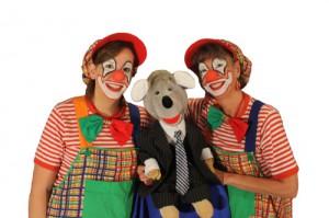 Clown Biene und Clown Julchen mit Bauchrednerpuppe Maus